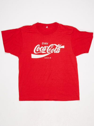 Coca-Cola Printed T-Shirt Red / White Size Large
