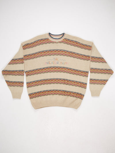 The Sweater Shop Pattern Knit with Embroidered Logo adn High Neck  Multi Size Large