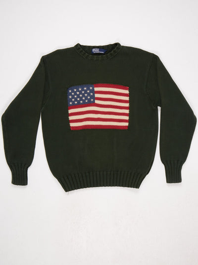 Polo Ralph Lauren Large Flag Knit  Green / Red / Blue / White Size Medium