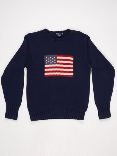 Polo Ralph Lauren Large Flag Knit  Blue / Red / White Size XL