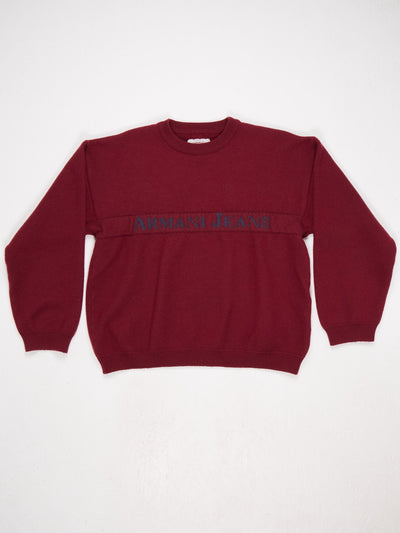 Armani Jeans Spell Out Knit  Burgundy / Blue Size XXL