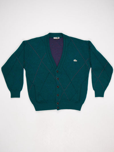 Lacoste Argyle VNeck Cardigan with 5 Buttons and Small Badge Logo  Green / Multi Size Large