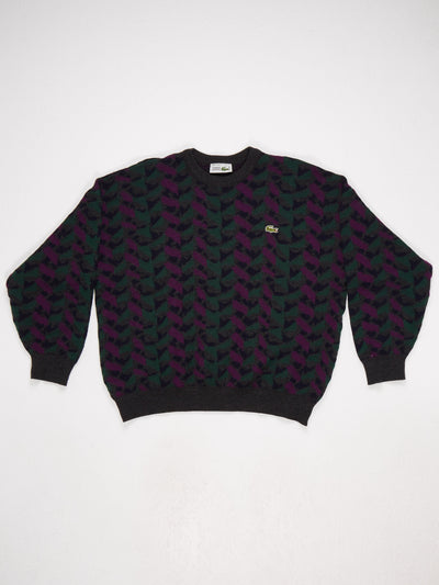 Lacoste Pattern Knit with Small Badge Logo  Multi Size Medium