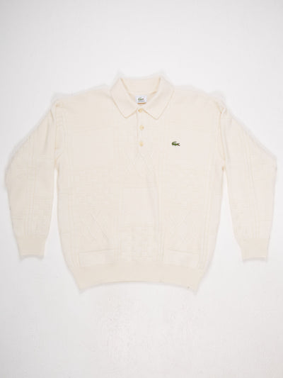 Lacoste, 3  Button, Collared Knit with Small Badge Logo  Cream Size Large