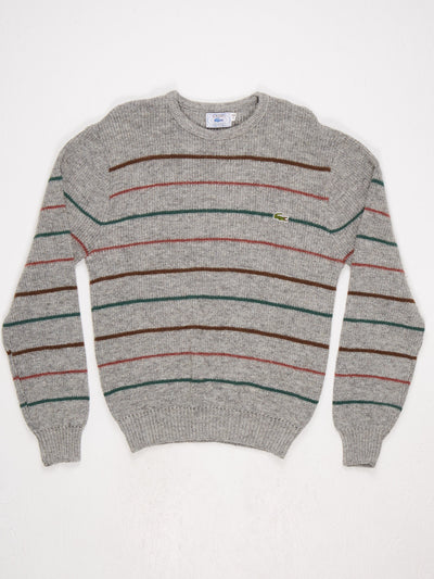 Lacoste Stripe Knit with Small Badge Logo  Grey / Multi Size Large