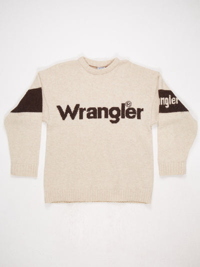 Wrangler Spell Out Knit Cream / Brown Size Large
