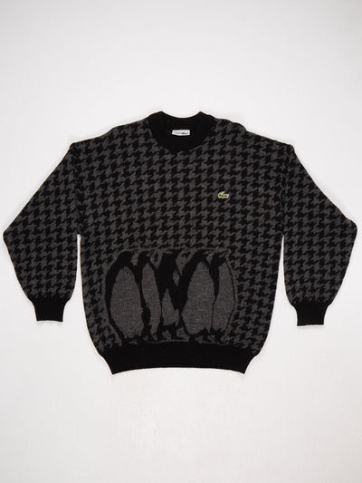 Lacoste Houndstooth Knit with Small Badge Logo  Black / Grey Size Large