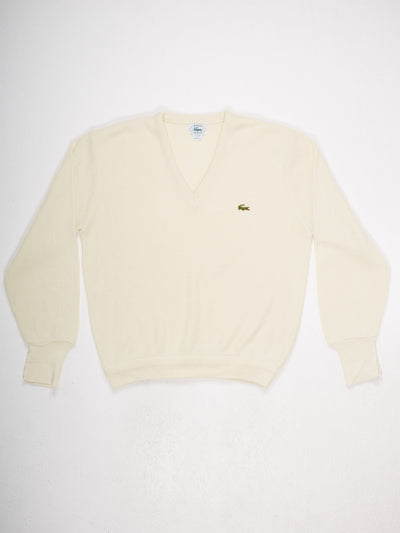 Lacoste VNeck Knit Cream Size Large