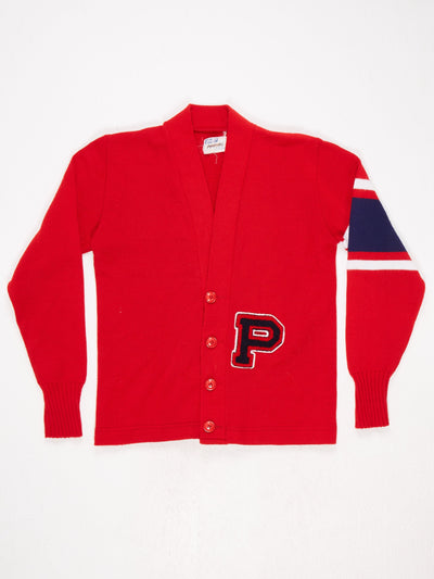 P' Patched Button Up VNeck Varsity Cardigan  Red / Blue / White Size Small