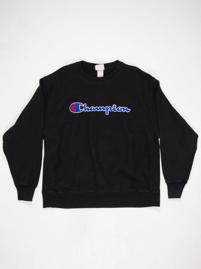 Champion Reverse Weave Spell Out Sweatshirt Black Size XL