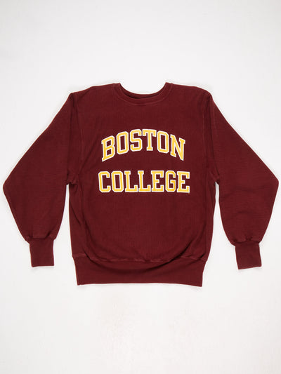 Boston College Reverse Weave Printed Sweatshirt Burgundy / Orange / White Size Large
