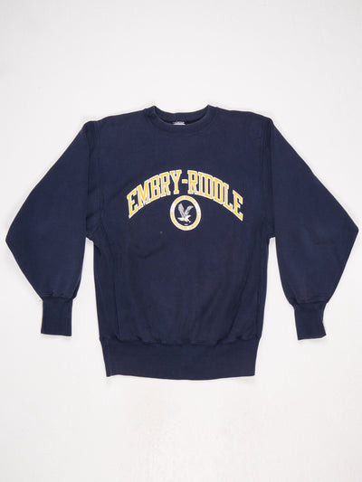 Embry-Riddle Reverse Weave Printed Sweatshirt Blue / Yellow / White Size Large