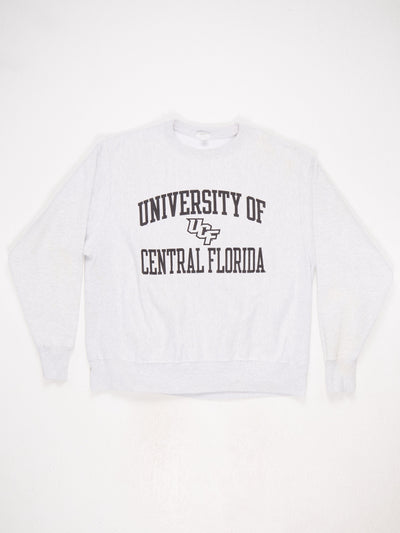 University of Central Florida Reverse Weave Printed Sweatshirt Grey / Black Size Large