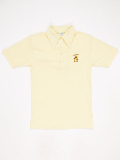 Trenton State Embroidered Logo Polo T-Shirt Yellow Size Small