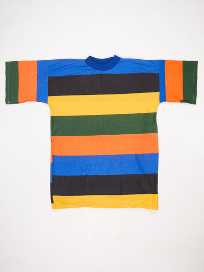 Stripe Mock Neck T-Shirt Blue / Orange / Yellow Size Large