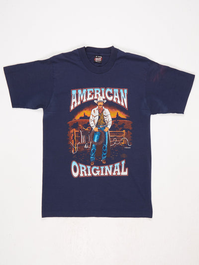 American Original Cowboy Print T-Shirt Blue / Multi Size Medium