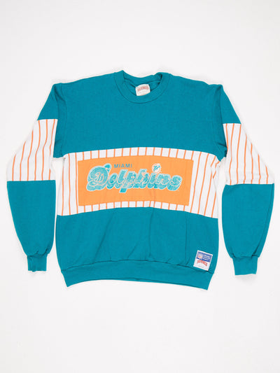 Miami Dolphins Patched Print Sweatshirt Grenn / Orange / White Size Large