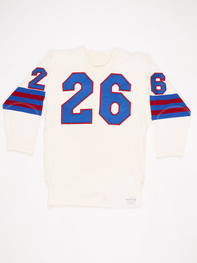No. 26 Football Jersey Patched Cream / Blue / Burgundy Size Large