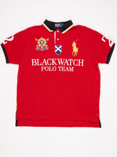Ralph Lauren Blackwatch Polo Team Embroidered and Patched Polo Shirt Red / Multi Size XL