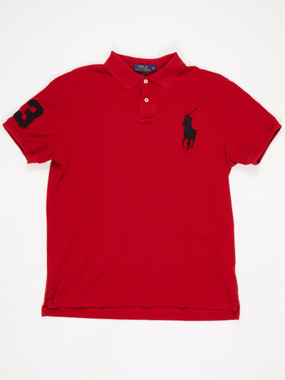 Ralph Lauren Large Horse Logo Polo Shirt Red / Black Size XL