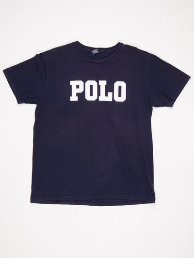 Ralph Lauren Spell Out 'POLO' T-Shirt Blue / White Size Large