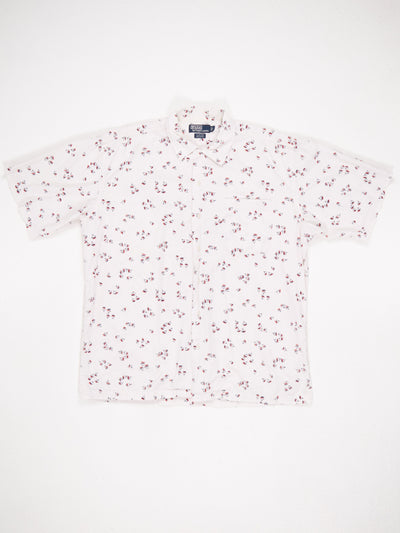 Ralph Lauren Short Sleeve Shirt All Over Mini Boat Print White / Blue / Red Size Large