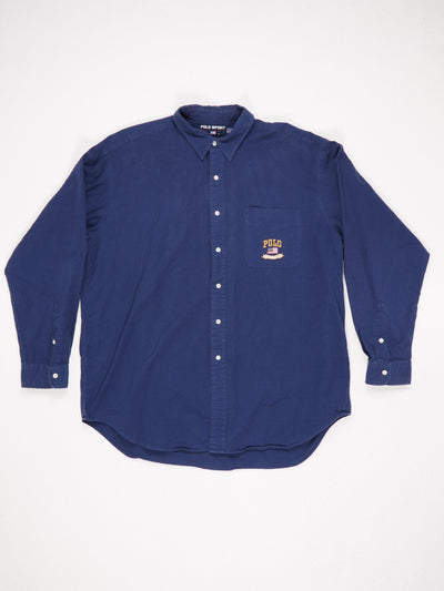 Ralph Lauren Long Sleeve Textured Shirt with Embroidered Pocket Blue Size XL