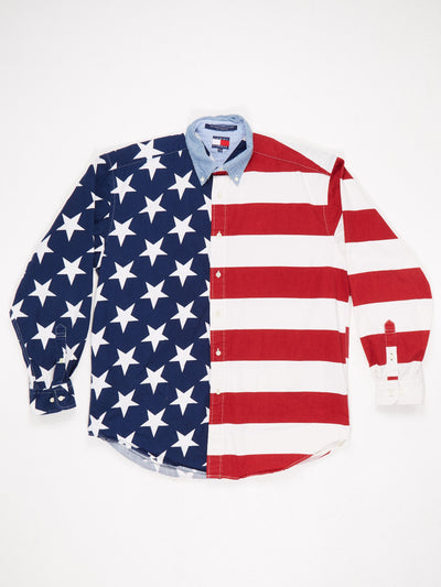 Tommy Hilfiger American Flag Print Long Sleeve Shirt Blue / Red / White Size Medium