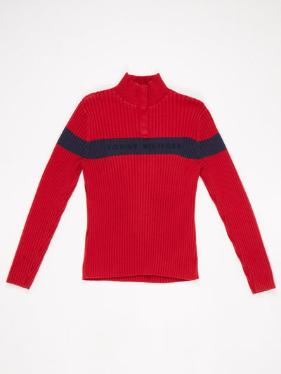 Tommy Hilfiger High Neck Ribbed Knit with Poppers Red / Blue Size XL