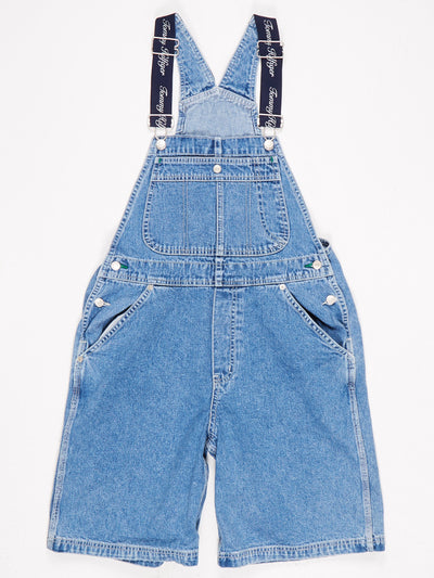 Tommy Hilfiger Short Denim Dungarees Bib Pocket and Branded Elastic Straps Blue Size Medium