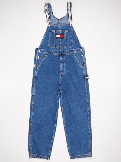 Tommy Hilfiger Tommy Jeans Front Patched Branded Straps Denim Dungarees Blue Size Medium