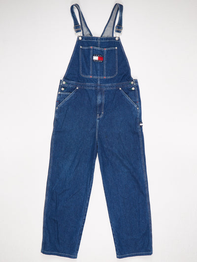 Tommy Hilfiger Patch Logo Front Denim Dungarees Blue Size XL