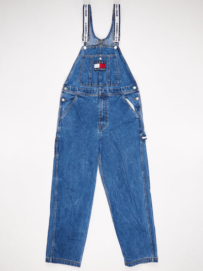 Tommy Hilfiger Tommy Jeans Branded Straps Patched Logo Front Denim Dungarees Blue Size Small