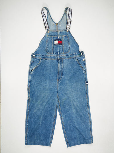 Tommy Hilfiger cropped Tommy Jeans Branded Straps Patched Logo Front Denim Dungarees Blue Size Large