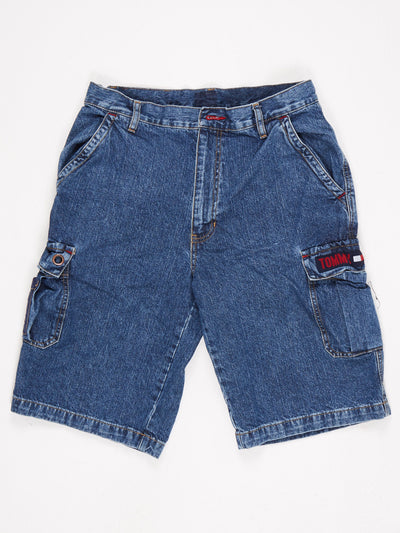 Tommy Hilfiger Tommy Jeans Denim Cargo Shorts Side Pockets Blue Size Medium