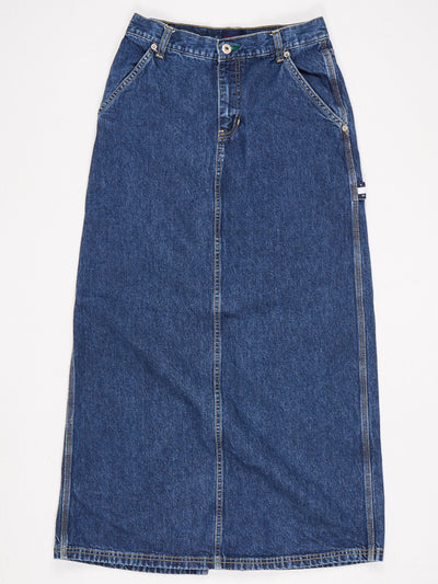 Tommy Hilfiger Tommy Jeans Maxi Skirt Split on back and traditional Zip/Fly Fastening Blue Size Small