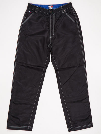 Tommy Hilfiger Tommy Jeans Nylon Trousers Black with White Contrast Stitching Size Medium
