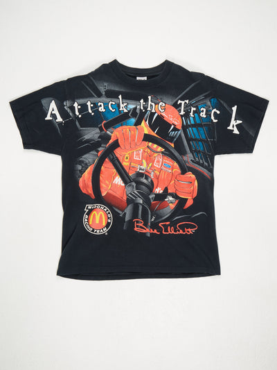 Attack The Track Or Get Left Behind' All Over Racing Print T-Shirt Black / Multi Size XL