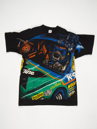 All Over Racing Animal Print T-Shirt Black / Multi Size XL