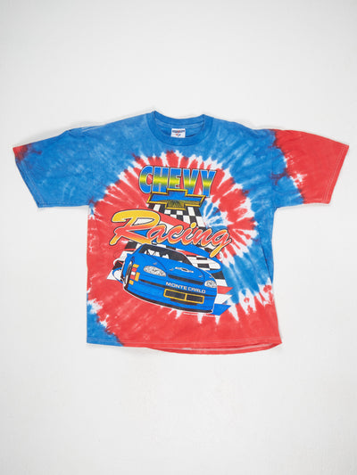 Chevy Racking Print Tye Dye T-Shirt Blue / Red / White / Multi Size Large