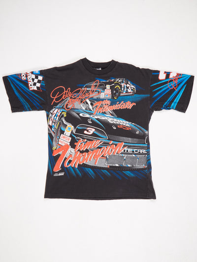 Dale Earnhardt 'The Intimidator' All Over Racing Print T-Shirt Black / Multi Size Large