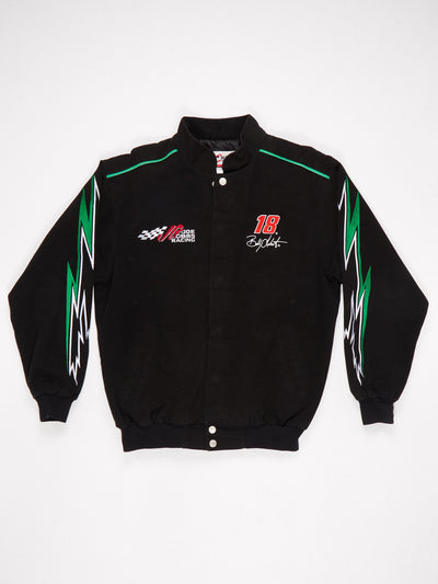 Joe Gibbs Interstate Batteries Racing Patched Racing Jacket Black / Green / Red / White Size Medium