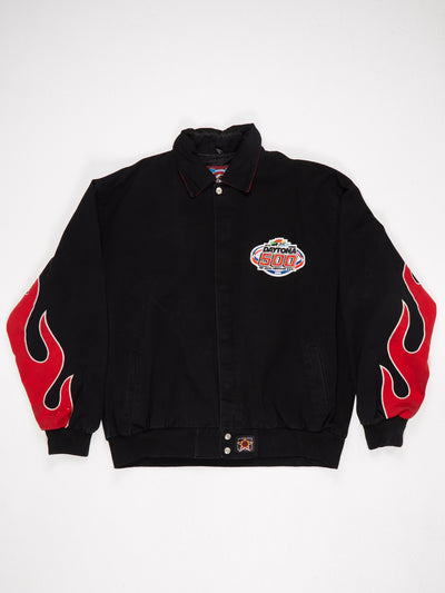Mickeys Pit Crew 47th Annual Daytona 2005 Patched Racing Jacket Flame Sleeves Black / Red / Multi Size XL