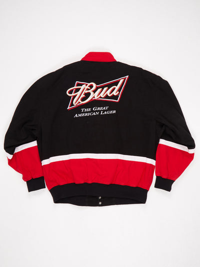 Bud The Great American Lager Embroidered and Patched Zip Up Racing Jacket Black / Red / White Size XL - Black / XL / Great (10000707)