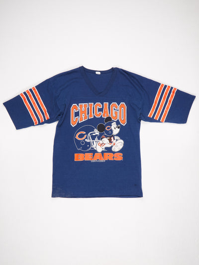 Chicago Bears Mickey Mouse Printed T-Shirt Stripe Sleeve Blue / Orange Size XL