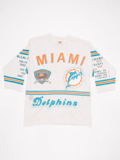 Miami Dolphins All Over Print T-Shirt Stripe Sleeves Stone / Orange / Green Size Large
