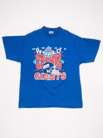 New York Giants 1990 World Champs Printed T-Shirt Blue / Red / White Size XL