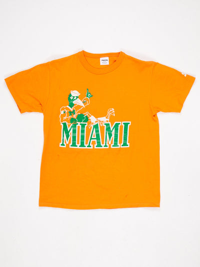 Miami Hurricanes Printed T-Shirt Orange / Green / White Size Large