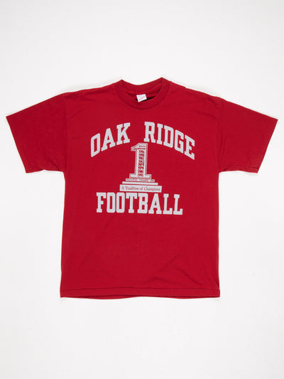Oak Ridge Football A Tradition of Champions Printed T-Shirt Red / Grey Size XL