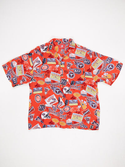 Tennessee Titans All Over Logo Print Short Sleeve Shirt Red / Multi Size Large